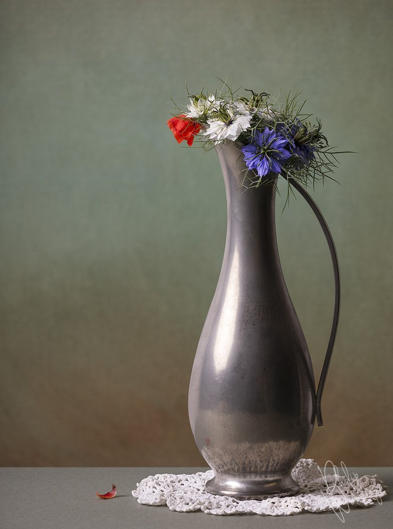 Alley flowers, with poppy and cornflowers in a Dutch pewter vase