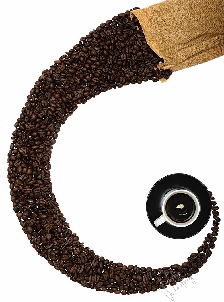 Coffee time - still life of richly roasted Java coffee beans