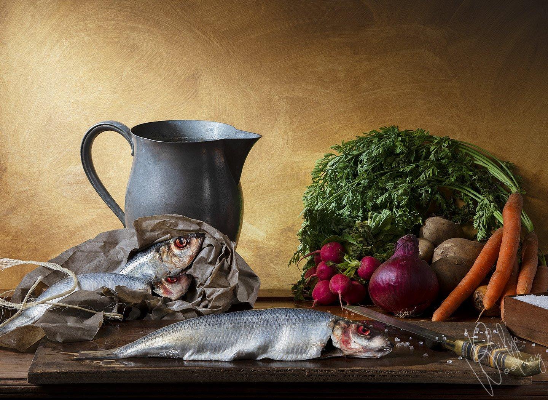 herrings and vegetables - still life