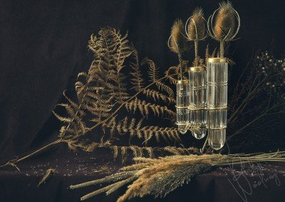 Teasel in Victorian Vases with Fern and Rushes